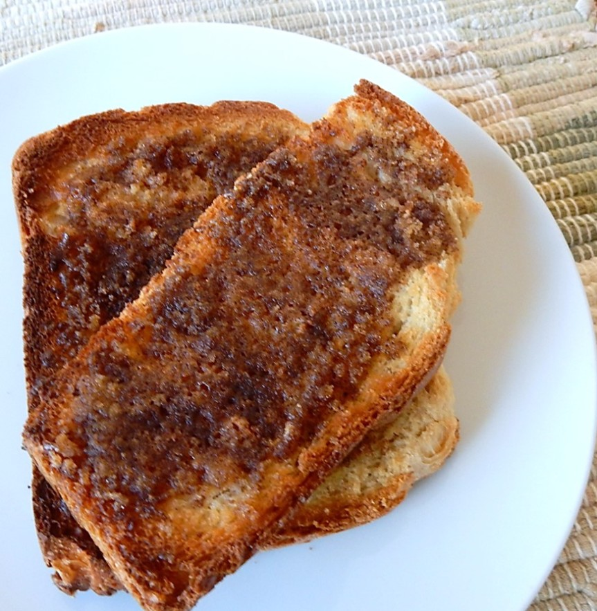 slice of cinnamon toast on plate