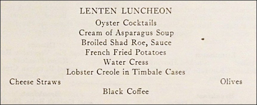 Lenten Luncheon Menu
