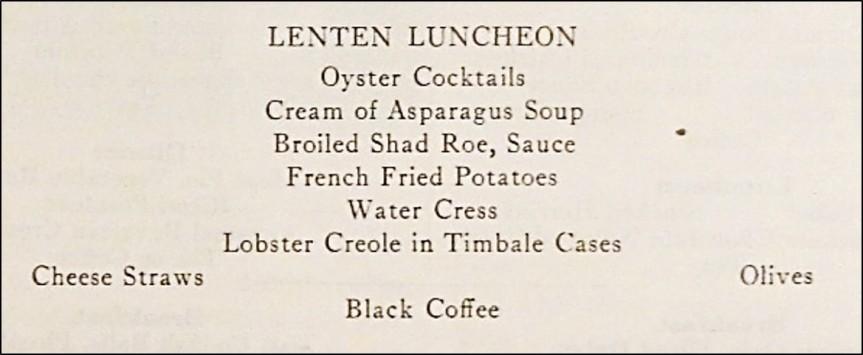 Lenten Luncheon Menu