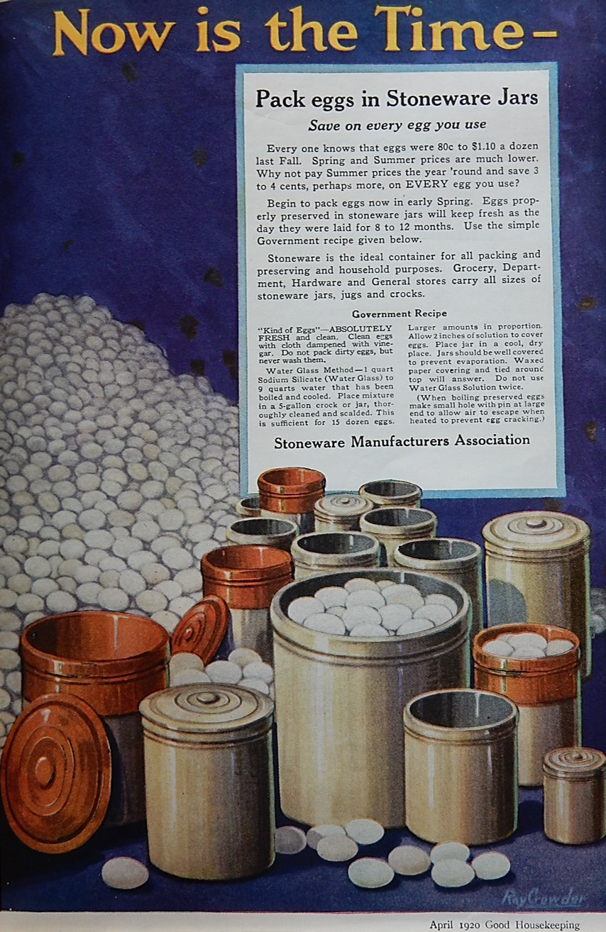 Advertisement showing eggs in stoneware crocks