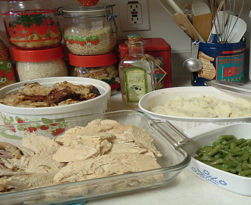 sliced turkey, mashed potatoes and other leftovers