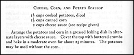 Recipe for Cheese, Corn, and Potato Scallop
