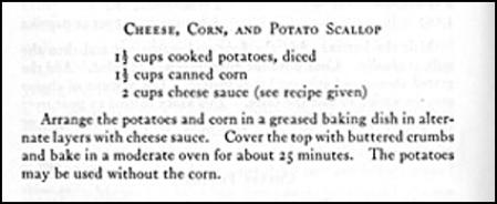 Recipe for Cheese, Corn, and Potato Scallop