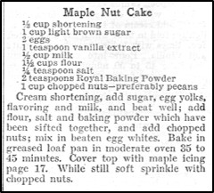 Recipe for Maple Nut Cake