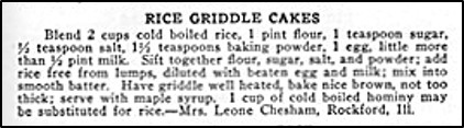 Recipe for Rice Griddle Cakes