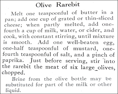 Olive Rarebit Recipe
