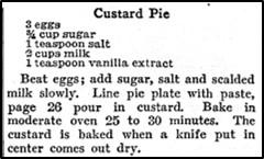 Recipe for Custard Pie