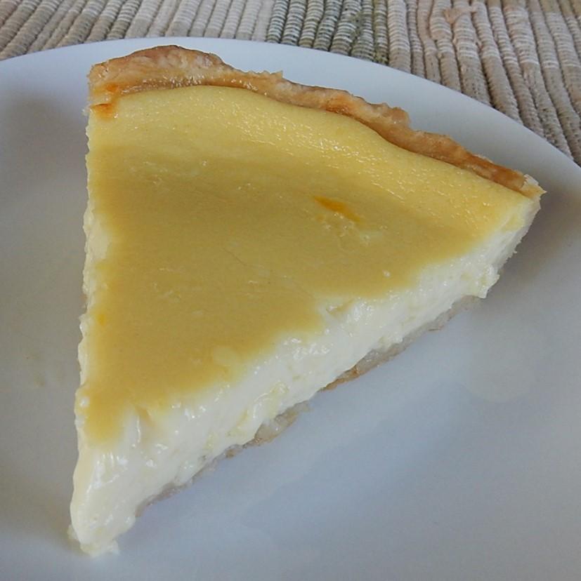 Slice of Custard Pie on Plate