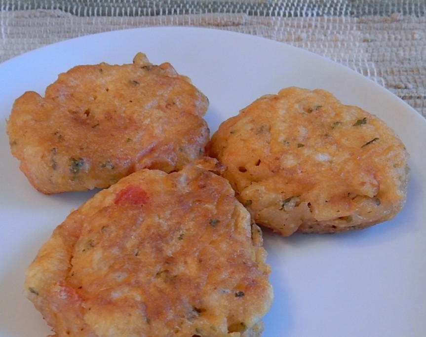 3 tomato fritters on plate
