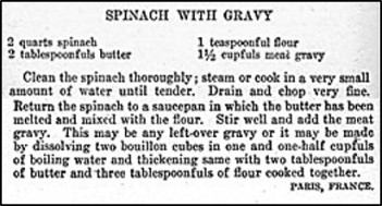 Recipe for spinach with gravy