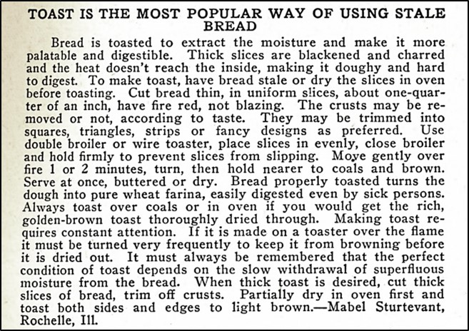 description of making toast out of stale bread