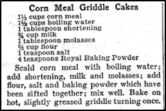 Recipe for Corn Meal Griddle Cakes