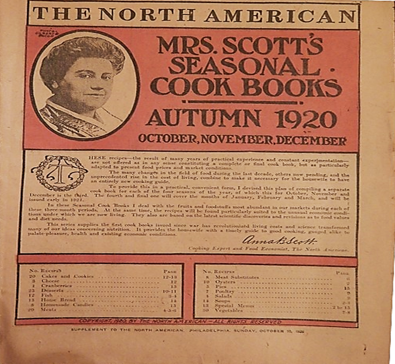Front page of Mrs. Scott's Seasonal Cook Books (Autumn, 1920)