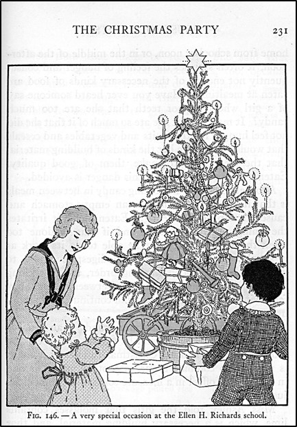 Woman and child looking at Christmas tree