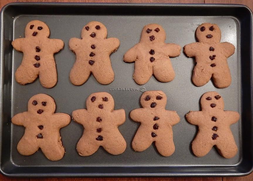 Gingerbread men on baking sheet