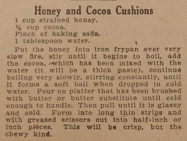 recipe for Honey and Cocoa Cushions