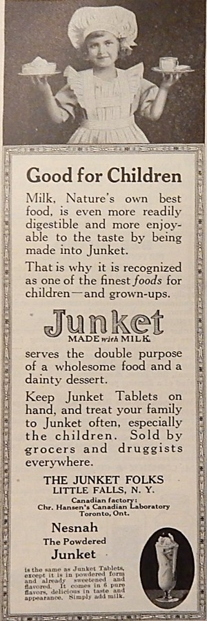 1920 Advertisement for Junket