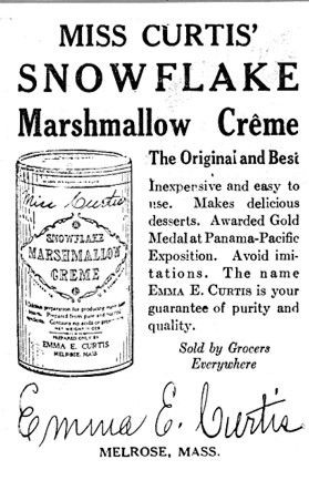 Advertisement for Miss Curtis' Snowflake Marmallow Creme