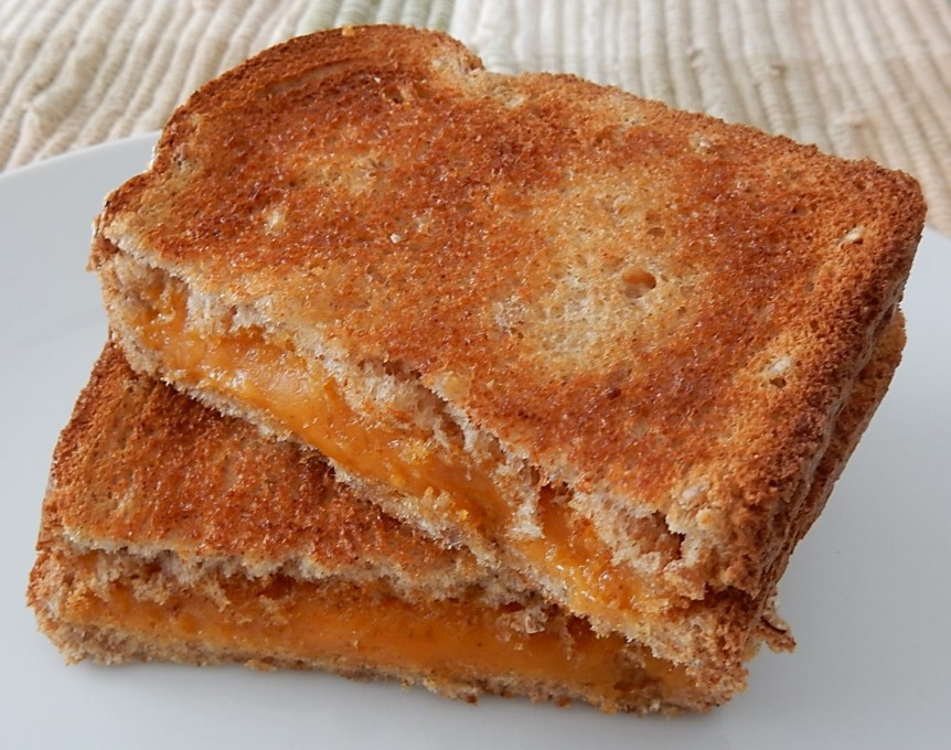 Hot Toasted Cheese Sandwich on Plate
