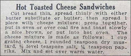 Recipe for Hot Toasted Cheese Sandwiches