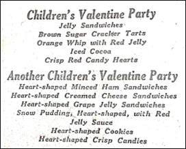 Menus for Children's Valentines Parties