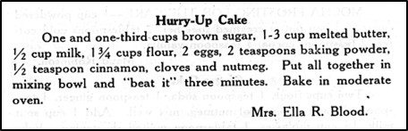Recipe for Hurry-Up Cake