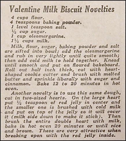 Recipe for Valentine Milk Biscuit Novelties