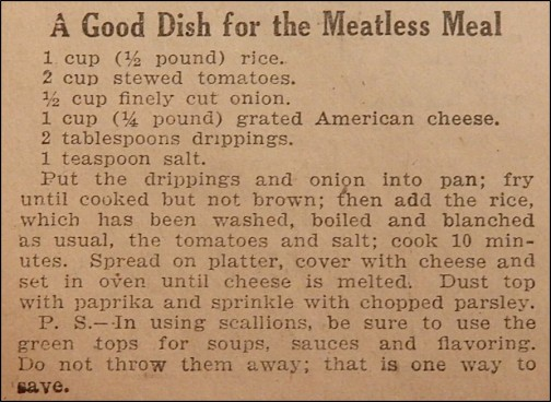 "Recipe for ""A Good Dish for a Meatless Meal"""
