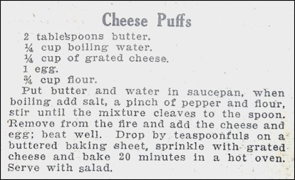 Recipe for Cheese Puffs