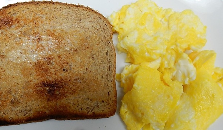 Scrambled Eggs, Country Style on Plast