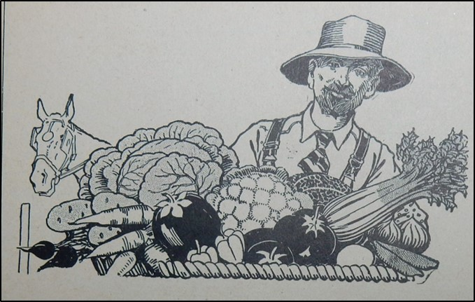drawing of farmer with vegetables