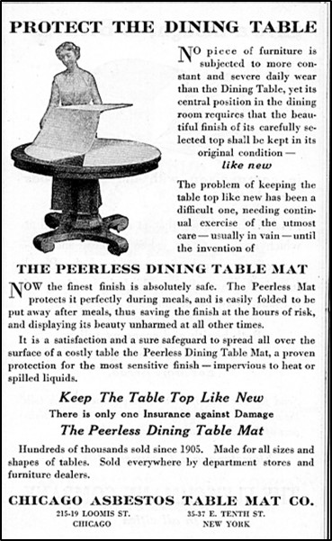 Advertisement for Chicago Asbestos Table Mat Comany