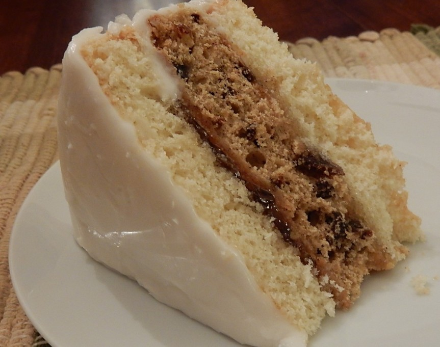 Slice of Ribbon Cake