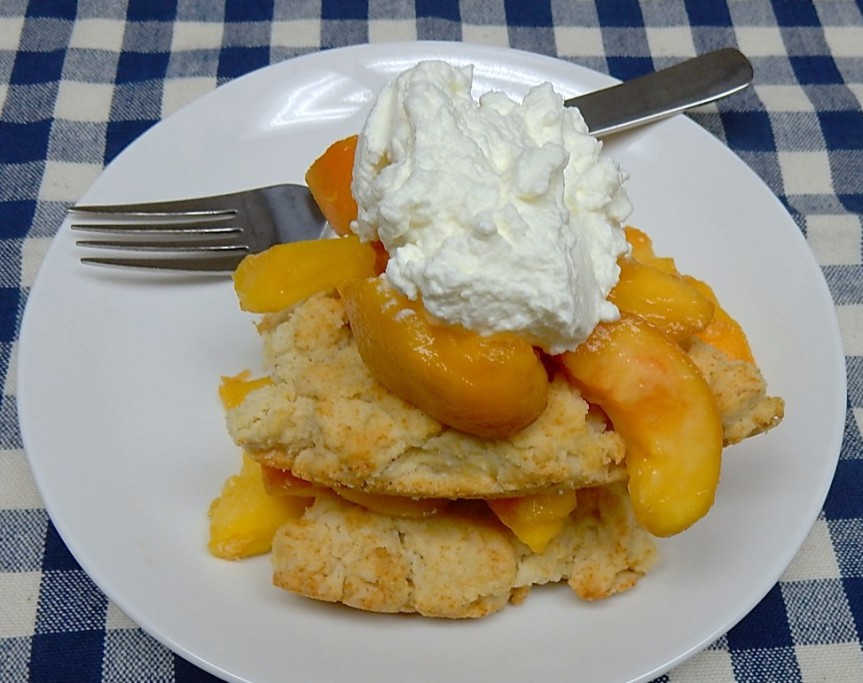 Peach Shortcake with Whipped Cream on Plate