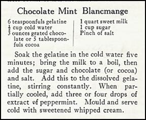 recipe for Chocolate Mint Blancmange