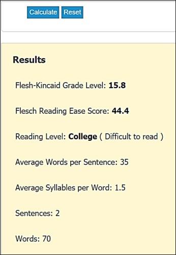 Flesch Kincaid Reading Level Chart