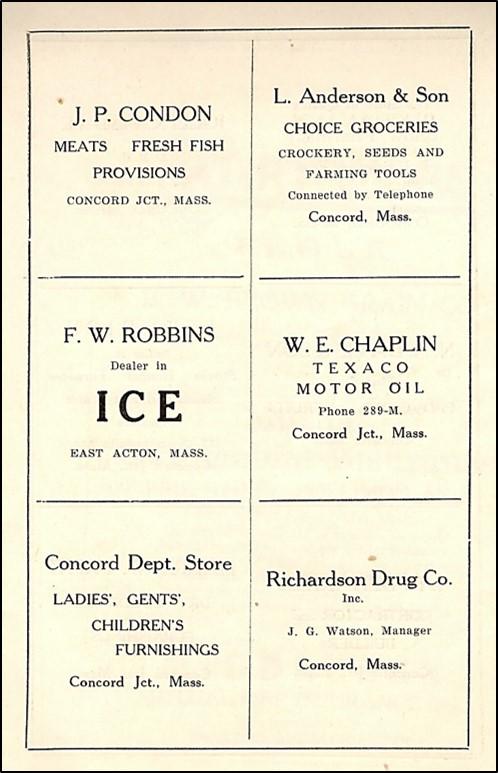 Advertisements in church cookbook