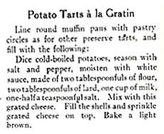 Recipe for Potato Tarts a la Gratin