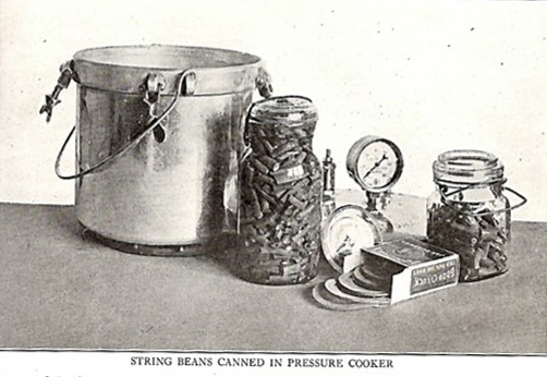 Pressure cook and jar of string beans