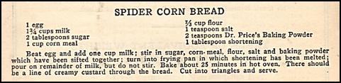 Recipe for Spider Corn Bread